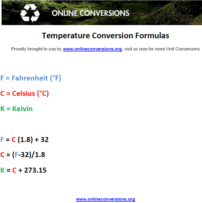 Temperature Conversion Formulas